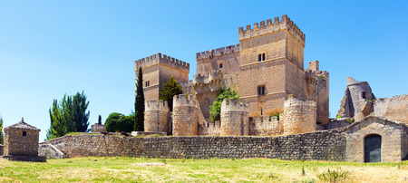 palencia province: General view of castle of  Ampudia in summer.   Province of Palencia, Castile and Leon, Spain Editorial