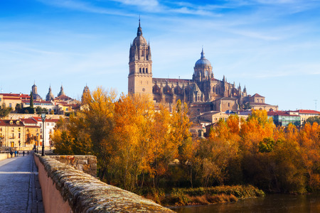 castile and leon: Autumn view of Salamanca with Tormes River and Cathedral. Castile and Leon, Spain