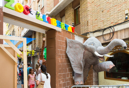 festa: BARCELONA, SPAIN - AUGUST 16, 2015:  Gracia Festa Major in Barcelona. Decorated streets of Gracia district. Zoo theme