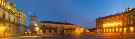 rajoy: Obradoiro Square  in evening time. Santiago de Compostela,  Galicia, Spain Stock Photo