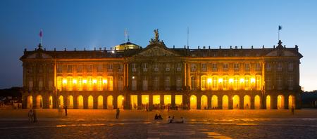 rajoy: Pazo de Raxoi palace in  in evening  time. Santiago de Compostela,  Galicia