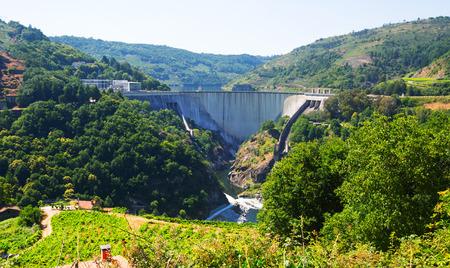 galicia: dam of water power plant of Belesar. Galicia, Spain