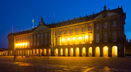 rajoy: The Rajoy Palace (Palacio de Rajoy)  in night time. Santiago de Compostela,  Galicia, Spain