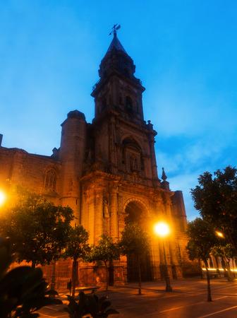 jerez de la frontera: twilight view of Church of San Miguel. Jerez de la Frontera, Spain Stock Photo