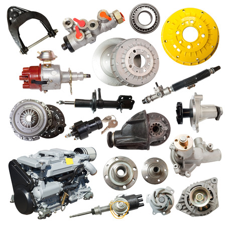 automotive parts: Set of motor and automotive parts. Isolated over white Stock Photo