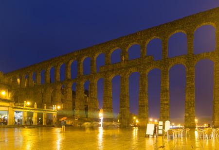 aqueduct: roman aqueduct  in autumn night. Segovia Stock Photo
