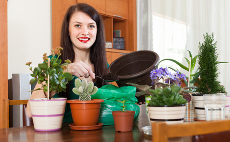 replant: Smiling woman working with  flowers in pots at home