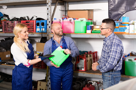auto repair: Troubleshooters and superviser at storage of auto repair shop