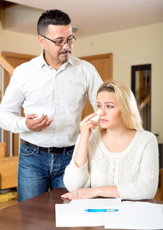 financial problems: Domestic quarrel between spouses because of financial problems
