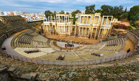 1st century: Antique Roman Theatre  in  Merida, Spain. Built by the Romans  in end of the 1st century or early 2nd century Stock Photo