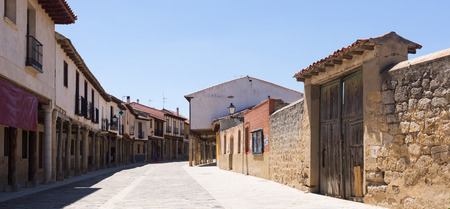 palencia province: Picturesque street of Ampudia in summer day.  Province of Palencia, Castile and Leon, Spain Stock Photo