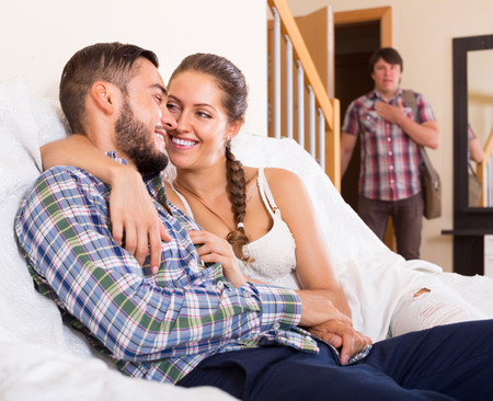 cheating woman: cheating partner having unfaithfulness woman at home