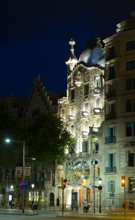 modernism: BARCELONA, SPAIN - JUNE 23, 2015:  Casa Batllo  in night.  Was built in 1904 by Catalan architect Antoni Gaudi, Catalan modernism architecture style