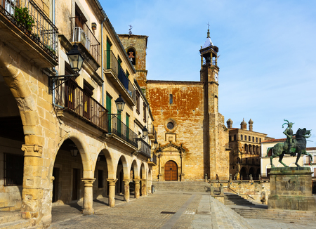 pizarro: Plaza Mayor at Trujillo, Caceres. Spain Stock Photo