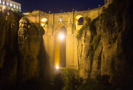 nuevo: The Puente Nuevo bridge in night time.   Ronda, Spain