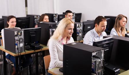 empleados trabajando: Los empleados profesionales del departamento de ventas que trabajan en la oficina