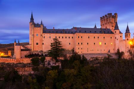 castile leon: Alcazar of Segovia in  twilight.  Castile and Leon, Spain