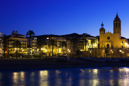 evening church: Evening view of  Sitges with Church and sea. Spain