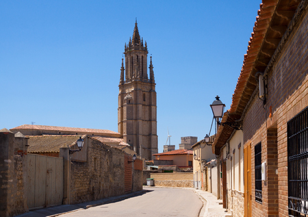 spanish village: view of  spanish village with bell tower.  Ampudia,    Spain Stock Photo