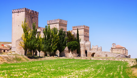 palencia province: General view of castle of  Ampudia.   Province of Palencia Editorial