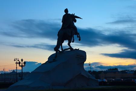uomo a cavallo: Il cavaliere di bronzo a San Pietroburgo, Russia Archivio Fotografico