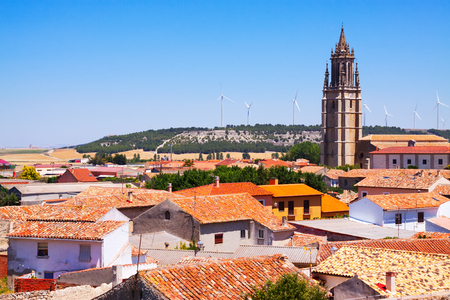 spanish village: view of  spanish village with bell tower.  Ampudia,  Castile and Leon,   Spain