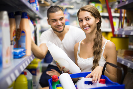 people buying: russian people buying detergents for house in the shopping mall