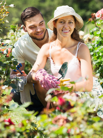 floriculturist: Young happy family is engaged in gardening
