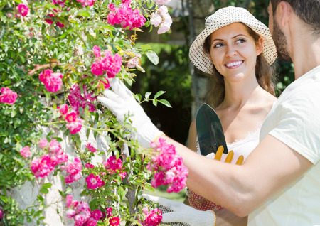 floriculturist: adult european family spends their summer vacation in the country Stock Photo