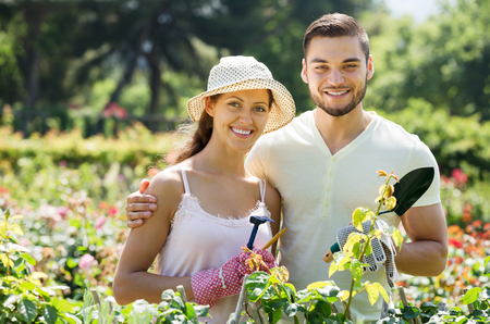 Young smiling family is engaged in gardening Stock Photo