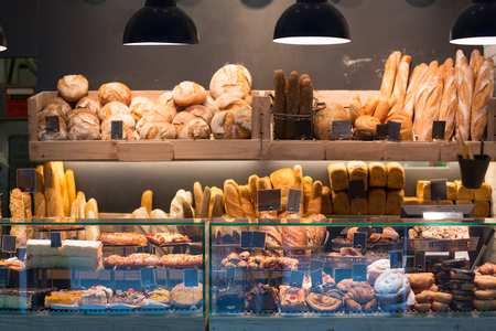 pastry shop: Modern bakery with assortment of bread, cakes and buns