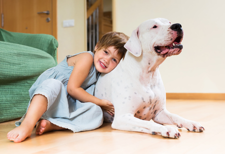 Happy smiling little girl hugging white dog at home Stock Photo