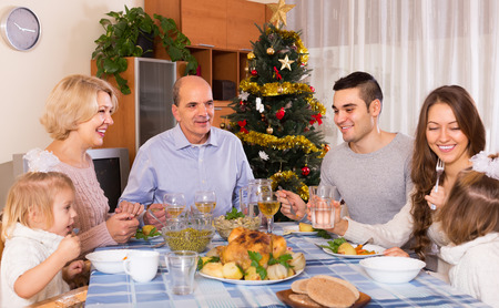 bosom: Christmas celebration in the bosom of happy family at home