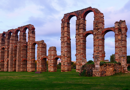 acueducto: old roman aqueduct in  dusk lights. Merida, Spain