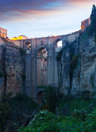 ronda: Medieval bridge in early morning.  Ronda, Spain Stock Photo