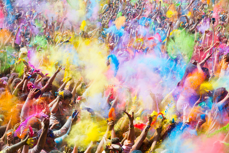 folk festival: BARCELONA, SPAIN - APRIL 12, 2015: People during Festival of colours Holi. Holi is  holiday of India