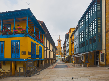 dwelling: OVIEDO, SPAIN - JULY 2, 2015:  Street with traditional   dwelling houses at  Oviedo. Asturias, Spain