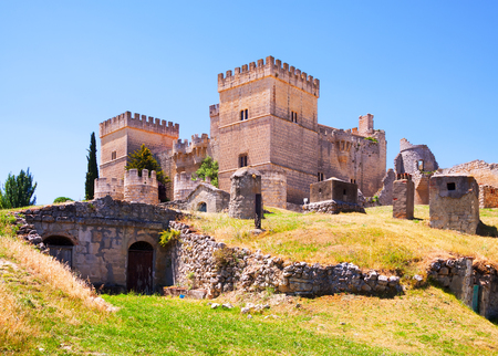 palencia province: Castle of Ampudia  in summer day.  Province of Palencia, Castile and Leon, Spain