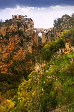 ronda: Ancient stone bridge in Ronda. Spain