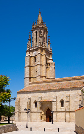palencia province: Collegiate Church  in Ampudia. Province of Palencia, Castile and Leon, Spain Stock Photo