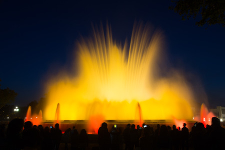 gazer: Evening view at colorful vocal Montjuic fountain in Barcelona. Spain Stock Photo