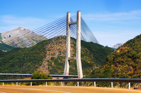 castilla: LEON, SPAIN - JULY 2, 2015:  Cable-stayed bridge over reservoir of Barrios de Luna by engineer Carlos Fernandez Casado.  Leon, Spain