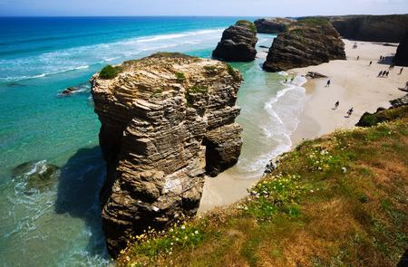 turistic: As Catedrais beach - it is the turistic name of Praia de Augas Santas (Beach of the Holy Waters). Lugo (Galicia), on the Cantabric coast. Spain Stock Photo