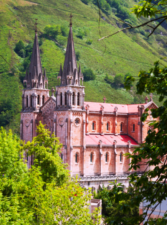 covadonga: Summer view of Sanctuary of Covadonga.   Asturias,  Spain