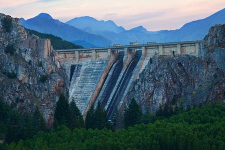 LUNA: Dam of Barrios de Luna in twilight.  Leon, Spain