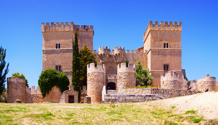 palencia province: General view of castle of  Ampudia.   Province of Palencia, Castile and Leon, Spain
