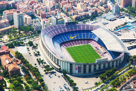 BARCELONA, SPAIN - AUGUST 1, 2014: Aerial view of Camp Nou -  stadium of FC Barcelona.  Spain Editorial