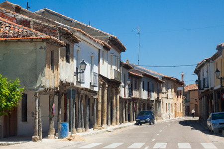 palencia province: picturesque street of Ampudia.  Province of Palencia, Castile and Leon, Spain