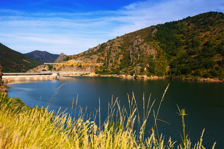 Barrios de Luna reservoir with dam. Leon,  Spain