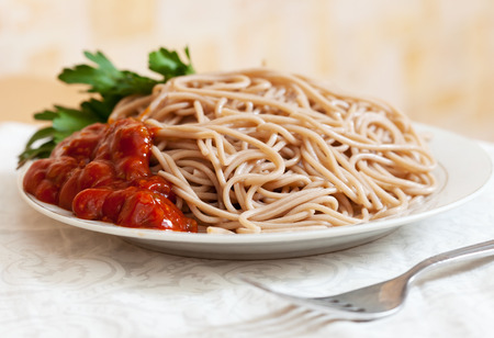 catsup: spaghetti pasta with tomato catchup on plate